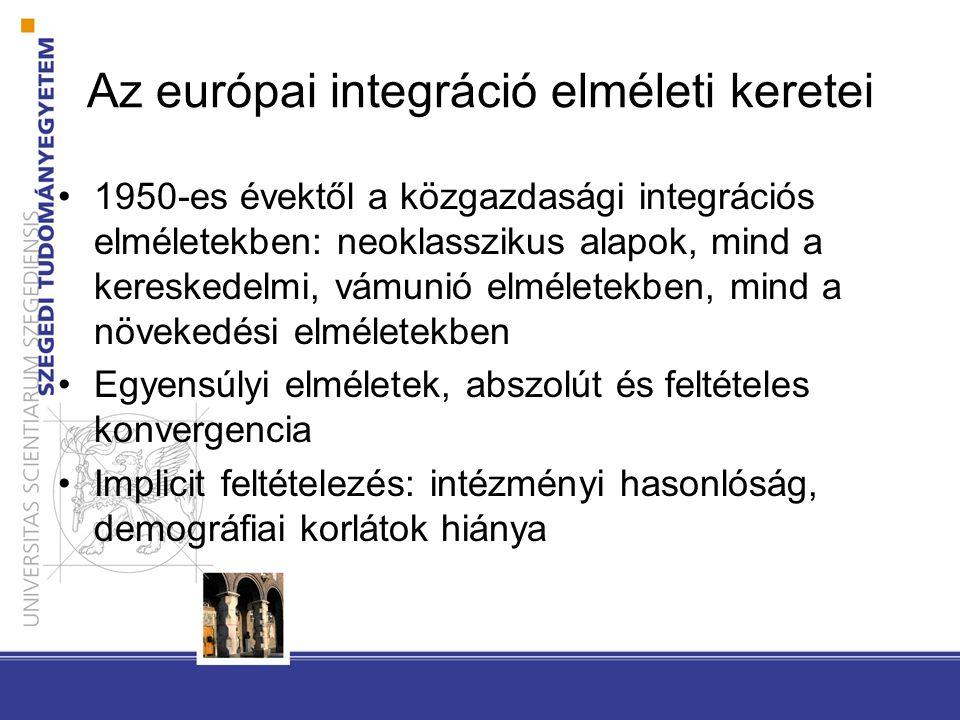 Az európai integráció elméleti keretei 1950-es évektől a közgazdasági integrációs elméletekben: neoklasszikus alapok, mind a kereskedelmi, vámunió elméletekben, mind a növekedési elméletekben Egyensúlyi elméletek, abszolút és feltételes konvergencia Implicit feltételezés: intézményi hasonlóság, demográfiai korlátok hiánya