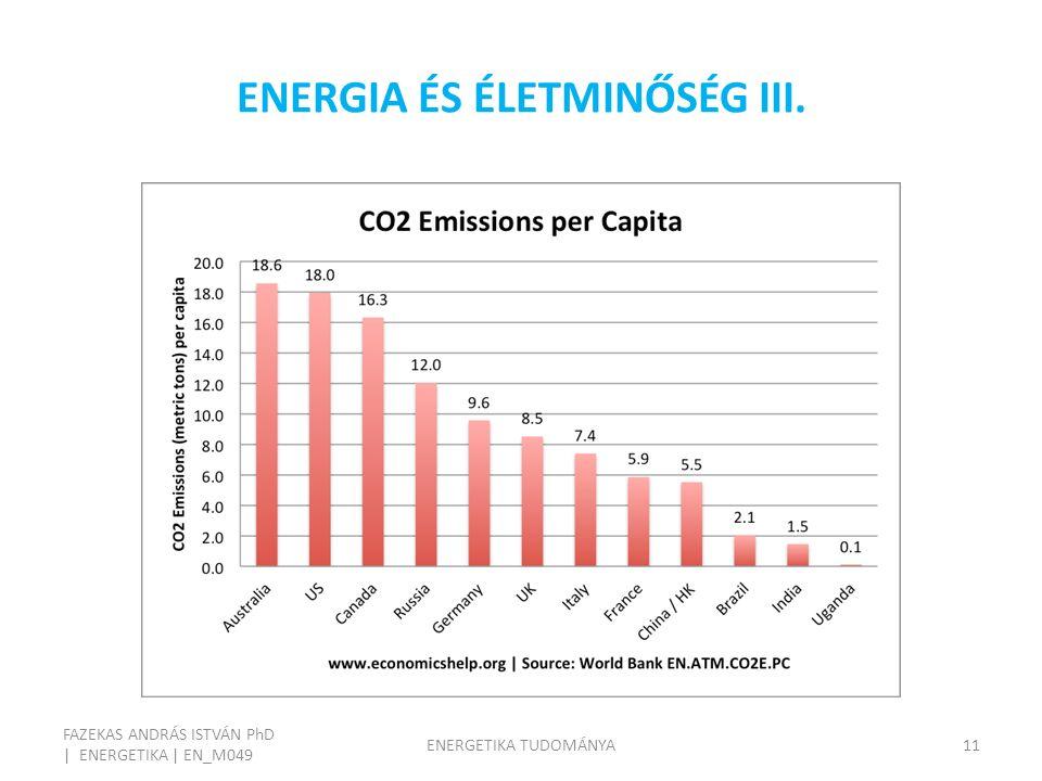 ENERGIA ÉS ÉLETMINŐSÉG III. FAZEKAS ANDRÁS ISTVÁN PhD | ENERGETIKA | EN_M049 ENERGETIKA TUDOMÁNYA11