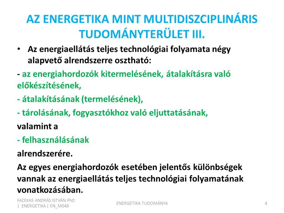 AZ ENERGIAELLÁTÁS SÉMÁJA FAZEKAS ANDRÁS ISTVÁN PhD | ENERGETIKA | EN_M049 ENERGETIKA TUDOMÁNYA5