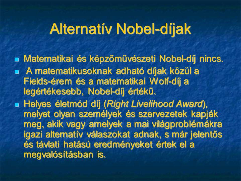 Alternatív Nobel-díjak Matematikai és képzőművészeti Nobel-díj nincs.