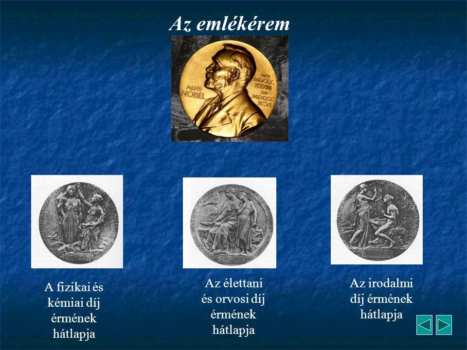 A fizikai és kémiai díj érmének hátlapja Az élettani és orvosi díj érmének hátlapja Az irodalmi díj érmének hátlapja Az emlékérem