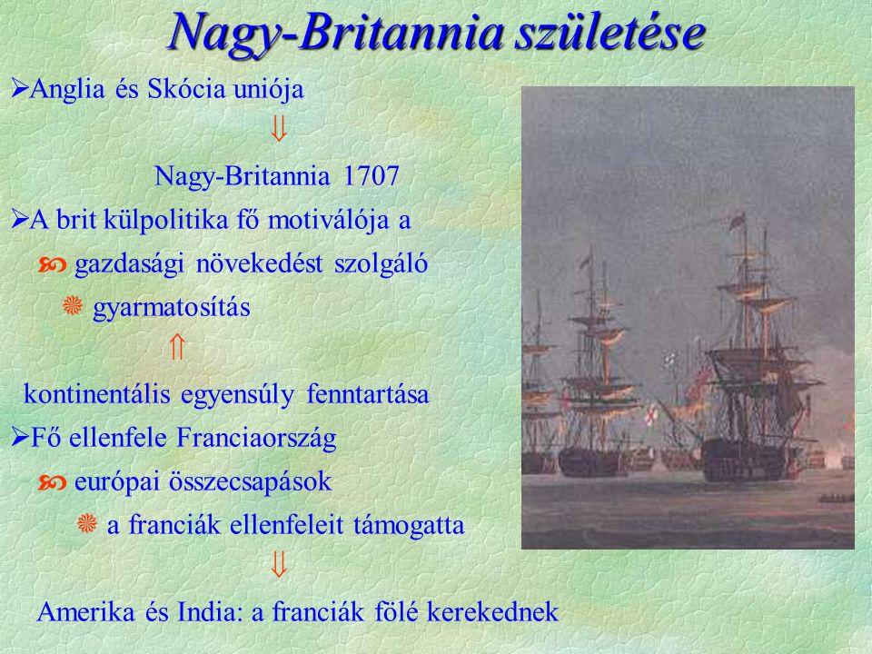  Angol terjeszkedése a XVIII.században  sp. örökösödési háb.