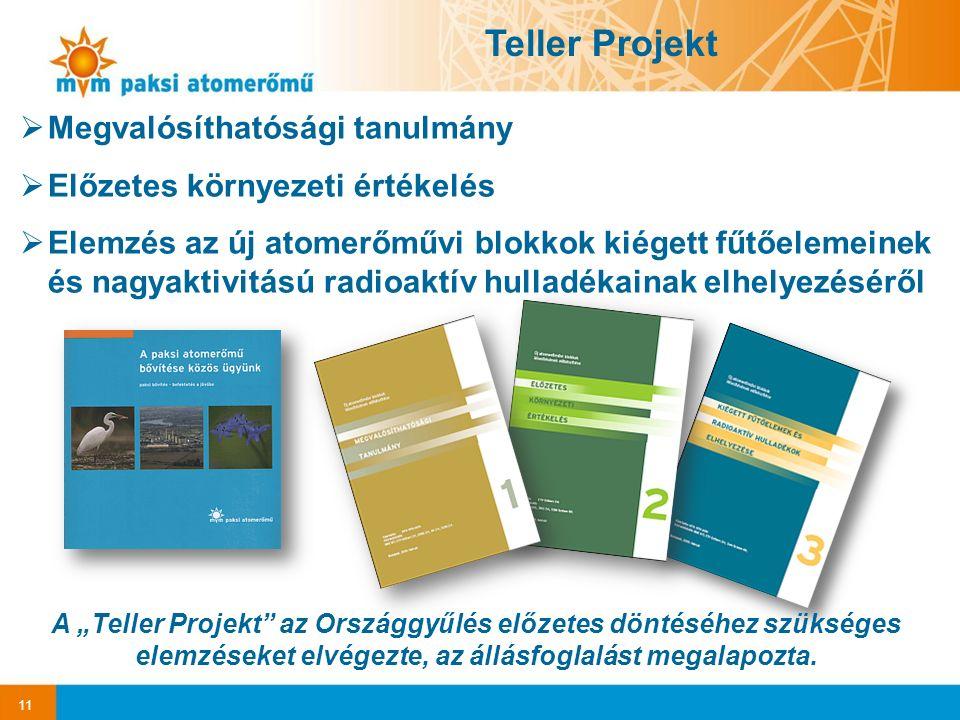 """11 Teller Projekt  Megvalósíthatósági tanulmány  Előzetes környezeti értékelés  Elemzés az új atomerőművi blokkok kiégett fűtőelemeinek és nagyaktivitású radioaktív hulladékainak elhelyezéséről A """"Teller Projekt az Országgyűlés előzetes döntéséhez szükséges elemzéseket elvégezte, az állásfoglalást megalapozta."""