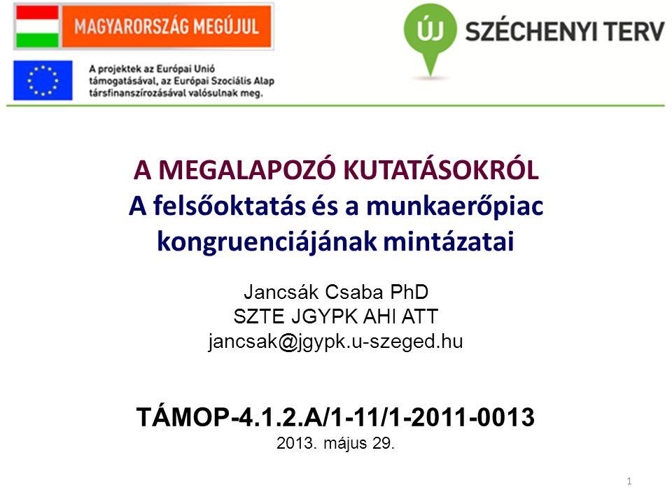 12 Köszönöm a figyelmet! Jancsák Csaba jancsak@jgypk.u-szeged.hu TÁMOP-4.1.2.A/1-11/1-2011-0013
