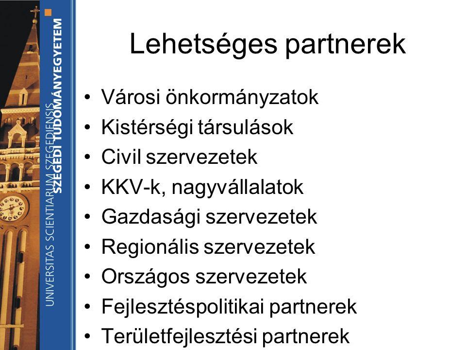 Lehetséges partnerek Városi önkormányzatok Kistérségi társulások Civil szervezetek KKV-k, nagyvállalatok Gazdasági szervezetek Regionális szervezetek Országos szervezetek Fejlesztéspolitikai partnerek Területfejlesztési partnerek