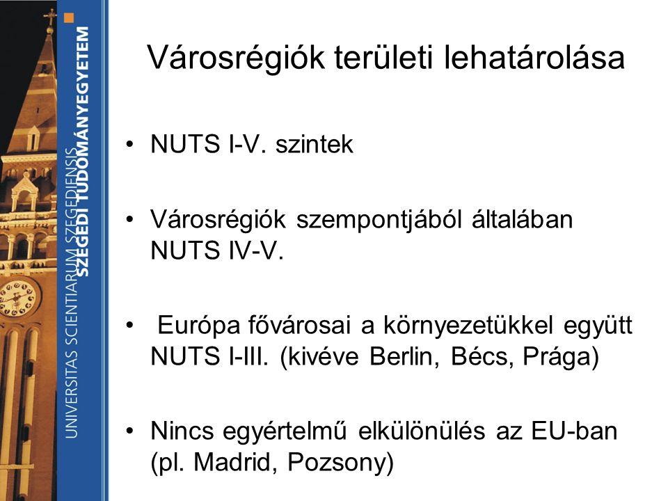 Városrégiók területi lehatárolása NUTS I-V. szintek Városrégiók szempontjából általában NUTS IV-V.