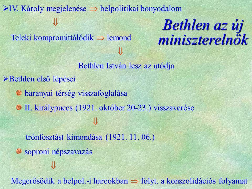 Bethlen az új miniszterelnök  IV. Károly megjelenése  belpolitikai bonyodalom  Teleki kompromittálódik  lemond  Bethlen István lesz az utódja  B