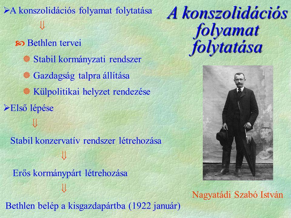  Kisgazdapárt + KNEP  Egységes Párt  1922 dec.