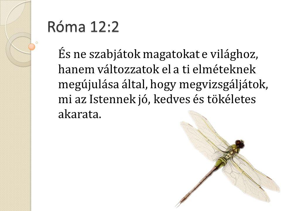 Róma 12:2 És ne szabjátok magatokat e világhoz, hanem változzatok el a ti elméteknek megújulása által, hogy megvizsgáljátok, mi az Istennek jó, kedves és tökéletes akarata.