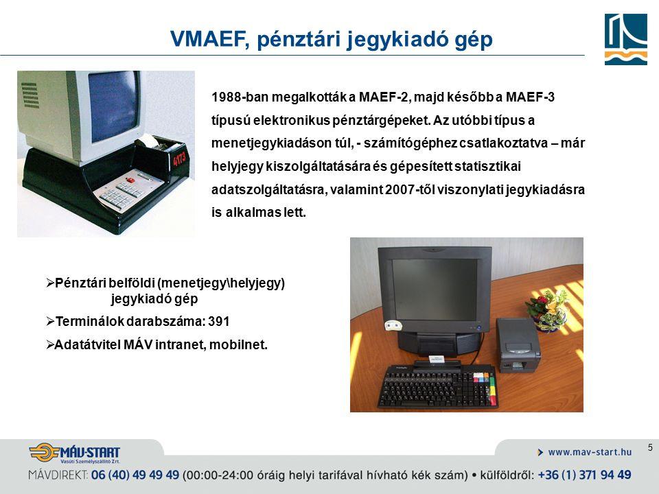 5 VMAEF, pénztári jegykiadó gép 1988-ban megalkották a MAEF-2, majd később a MAEF-3 típusú elektronikus pénztárgépeket.