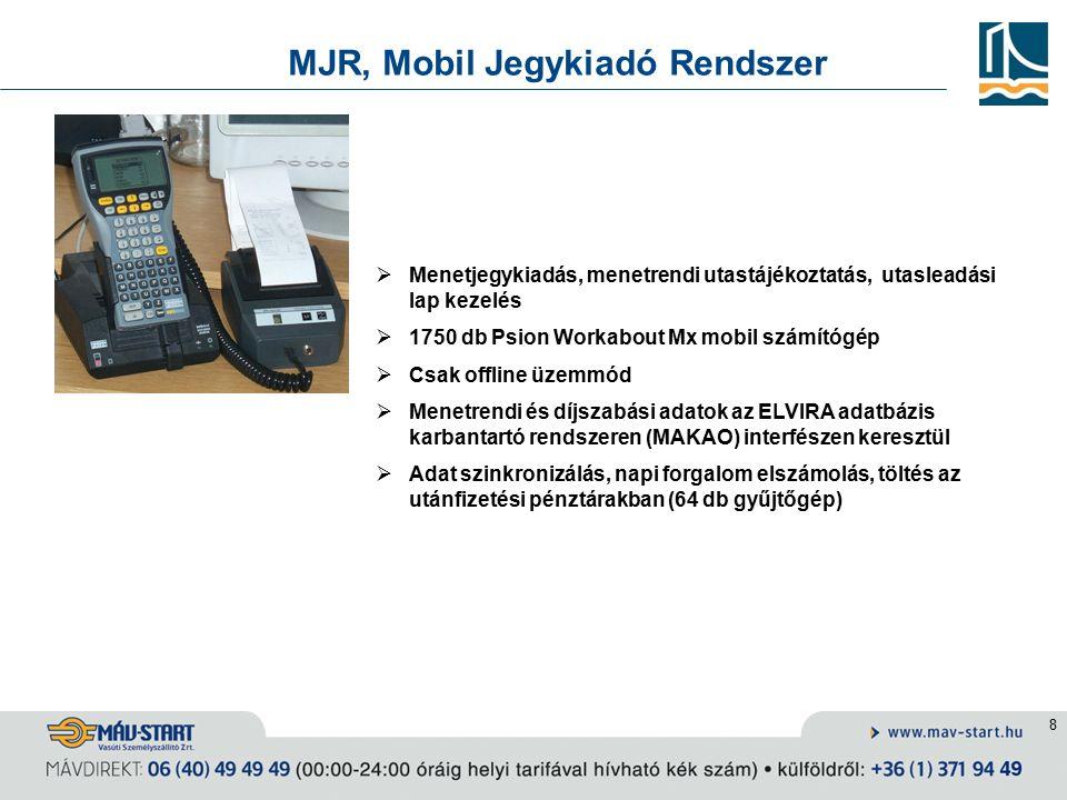 8 MJR, Mobil Jegykiadó Rendszer  Menetjegykiadás, menetrendi utastájékoztatás, utasleadási lap kezelés  1750 db Psion Workabout Mx mobil számítógép  Csak offline üzemmód  Menetrendi és díjszabási adatok az ELVIRA adatbázis karbantartó rendszeren (MAKAO) interfészen keresztül  Adat szinkronizálás, napi forgalom elszámolás, töltés az utánfizetési pénztárakban (64 db gyűjtőgép)