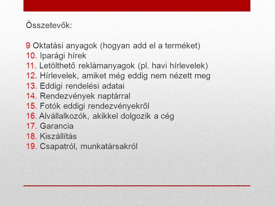 Összetevők: 9 Oktatási anyagok (hogyan add el a terméket) 10.