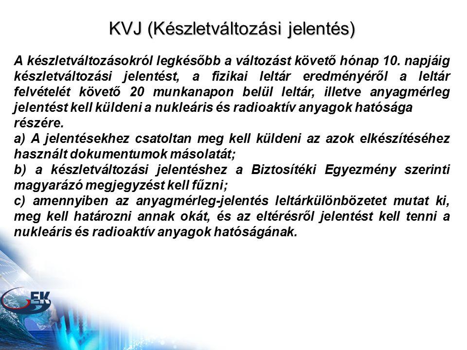 KVJ (Készletváltozási jelentés) A készletváltozásokról legkésőbb a változást követő hónap 10.