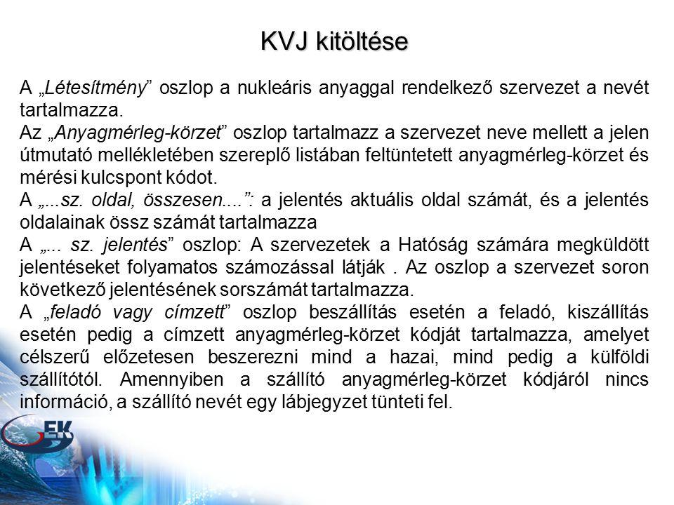 """KVJ kitöltése A """"Létesítmény"""" oszlop a nukleáris anyaggal rendelkező szervezet a nevét tartalmazza. Az """"Anyagmérleg-körzet"""" oszlop tartalmazz a szerve"""