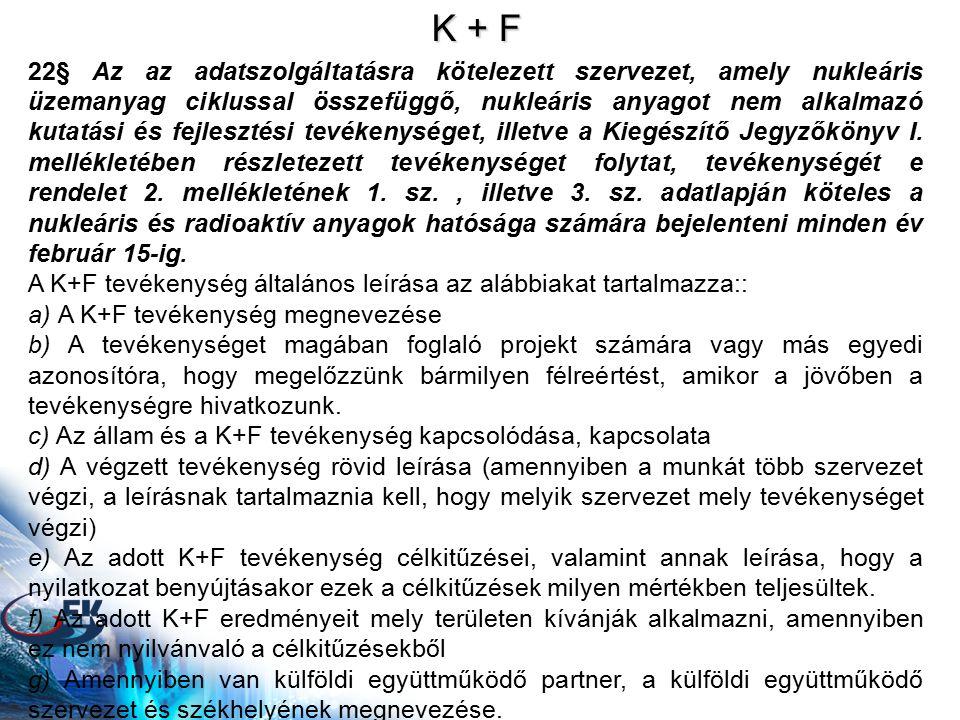 K + F 22§ Az az adatszolgáltatásra kötelezett szervezet, amely nukleáris üzemanyag ciklussal összefüggő, nukleáris anyagot nem alkalmazó kutatási és fejlesztési tevékenységet, illetve a Kiegészítő Jegyzőkönyv I.