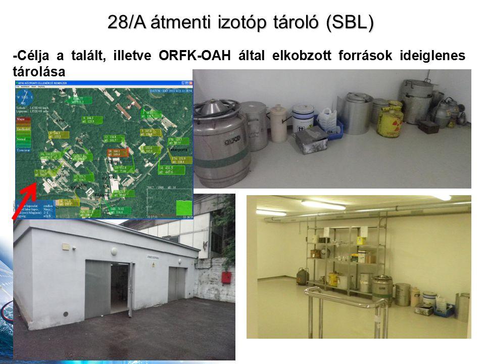 28/A átmenti izotóp tároló (SBL) -Célja a talált, illetve ORFK-OAH által elkobzott források ideiglenes tárolása