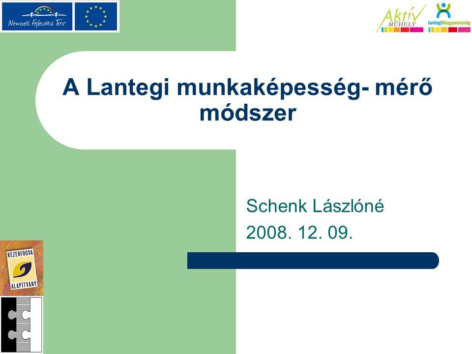 A Lantegi munkaképesség- mérő módszer Schenk Lászlóné 2008. 12. 09.