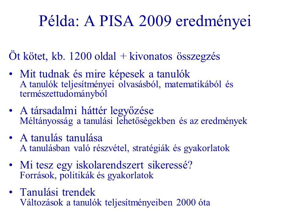 Példa: A PISA 2009 eredményei Öt kötet, kb.