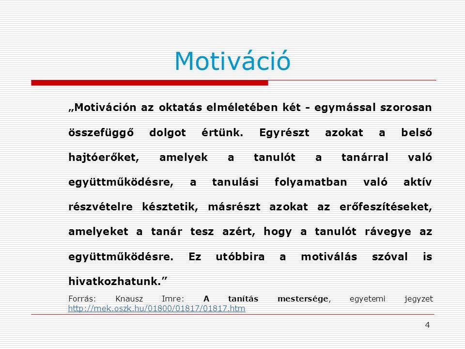 """4 Motiváció """"Motiváción az oktatás elméletében két - egymással szorosan összefüggő dolgot értünk. Egyrészt azokat a belső hajtóerőket, amelyek a tanul"""
