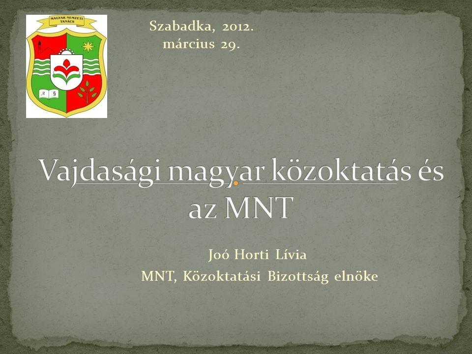 Joó Horti Lívia MNT, Közoktatási Bizottság elnöke Szabadka, 2012. március 29.