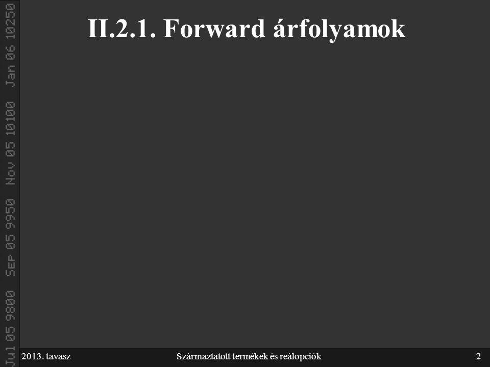 2013. tavaszSzármaztatott termékek és reálopciók2 II.2.1. Forward árfolyamok