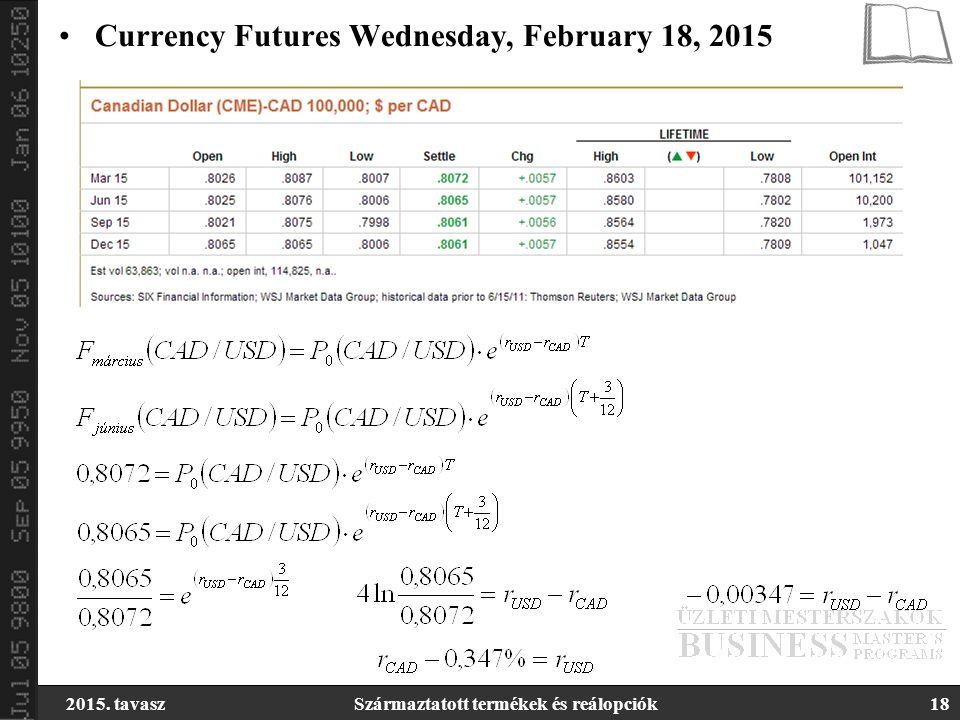 2015. tavaszSzármaztatott termékek és reálopciók18 Currency Futures Wednesday, February 18, 2015