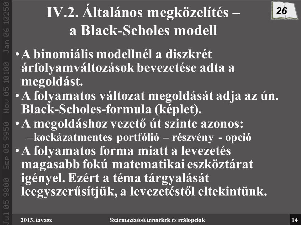 2013. tavaszSzármaztatott termékek és reálopciók14 IV.2.