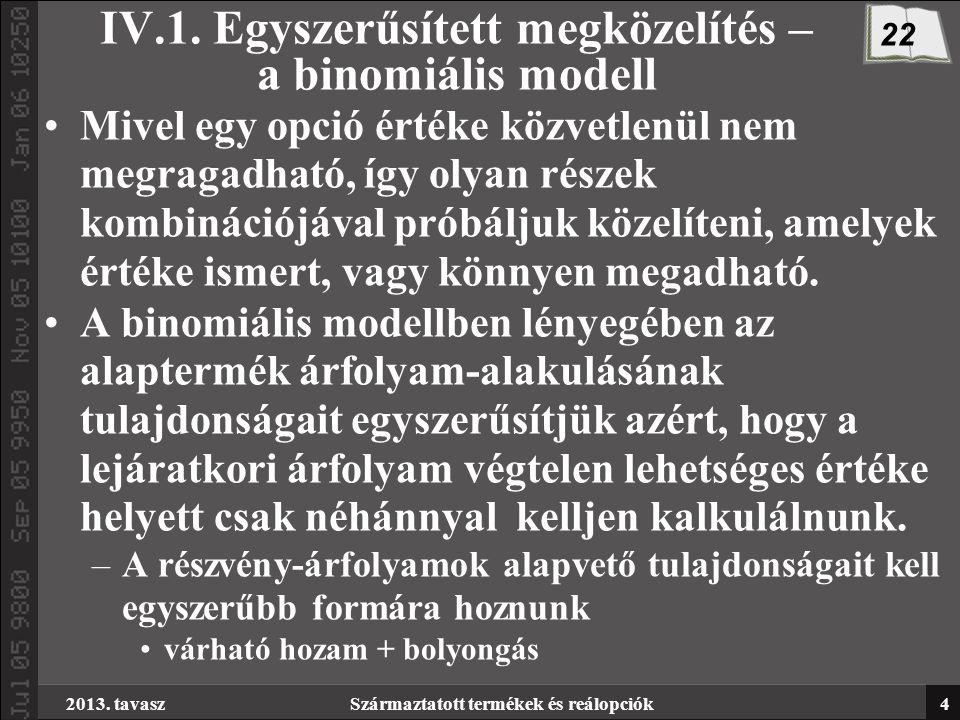 2013. tavaszSzármaztatott termékek és reálopciók4 IV.1.