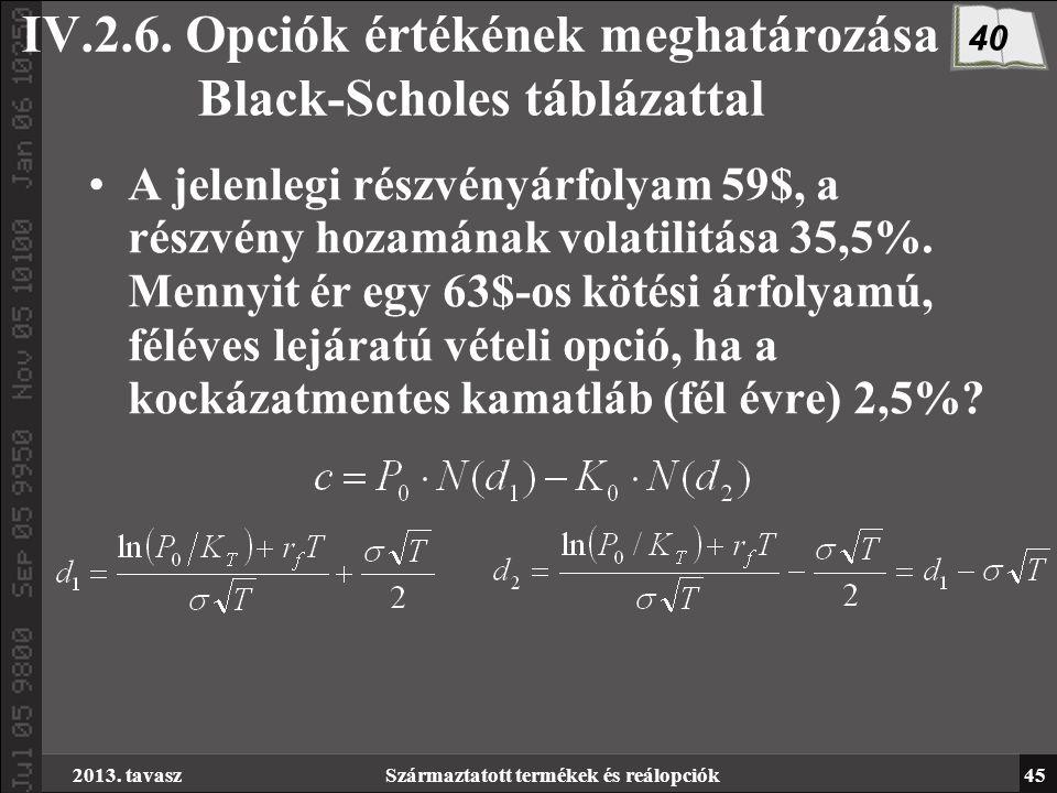 2013. tavaszSzármaztatott termékek és reálopciók45 IV.2.6.