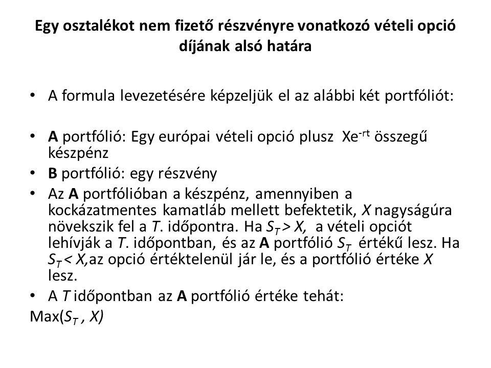 Egy osztalékot nem fizető részvényre vonatkozó vételi opció díjának alsó határa A formula levezetésére képzeljük el az alábbi két portfóliót: A portfólió: Egy európai vételi opció plusz Xe -rt összegű készpénz B portfólió: egy részvény Az A portfólióban a készpénz, amennyiben a kockázatmentes kamatláb mellett befektetik, X nagyságúra növekszik fel a T.