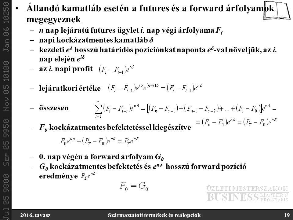 2016. tavaszSzármaztatott termékek és reálopciók19 Állandó kamatláb esetén a futures és a forward árfolyamok megegyeznek –n nap lejáratú futures ügyle
