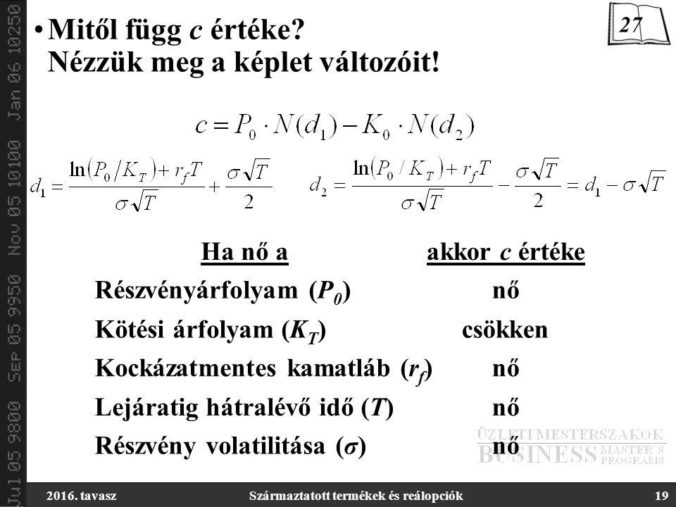 2016. tavaszSzármaztatott termékek és reálopciók19 Mitől függ c értéke? Nézzük meg a képlet változóit! Kötési árfolyam (K T ) Részvényárfolyam (P 0 )