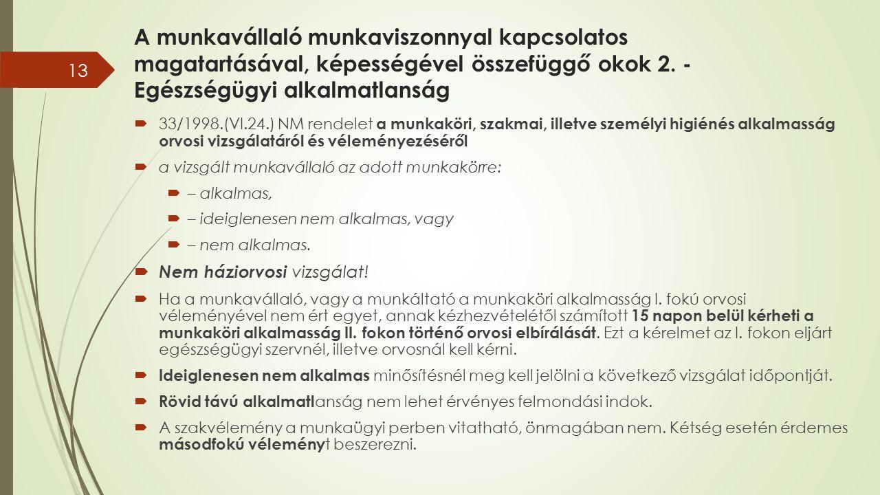 A munkavállaló munkaviszonnyal kapcsolatos magatartásával, képességével összefüggő okok 2. - Egészségügyi alkalmatlanság  33/1998.(VI.24.) NM rendele
