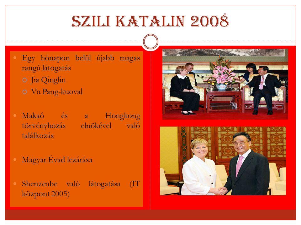 Szili Katalin 2008 Egy hónapon belül újabb magas rangú látogatás  Jia Qinglin  Vu Pang-kuoval Makaó és a Hongkong törvényhozás elnökével való találk