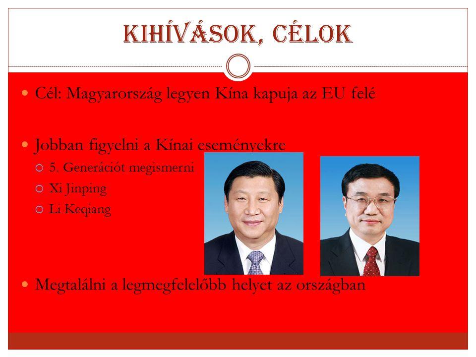 Kihívások, célok Cél: Magyarország legyen Kína kapuja az EU felé Jobban figyelni a Kínai eseményekre  5. Generációt megismerni  Xi Jinping  Li Keqi