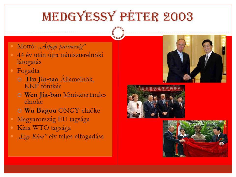 """Medgyessy Péter 2003 Mottó: """"Átfogó partnerség"""" 44 év után újra miniszterelnöki látogatás Fogadta  Hu Jin-tao Államelnök, KKP főtitkár  Wen Jia-bao"""