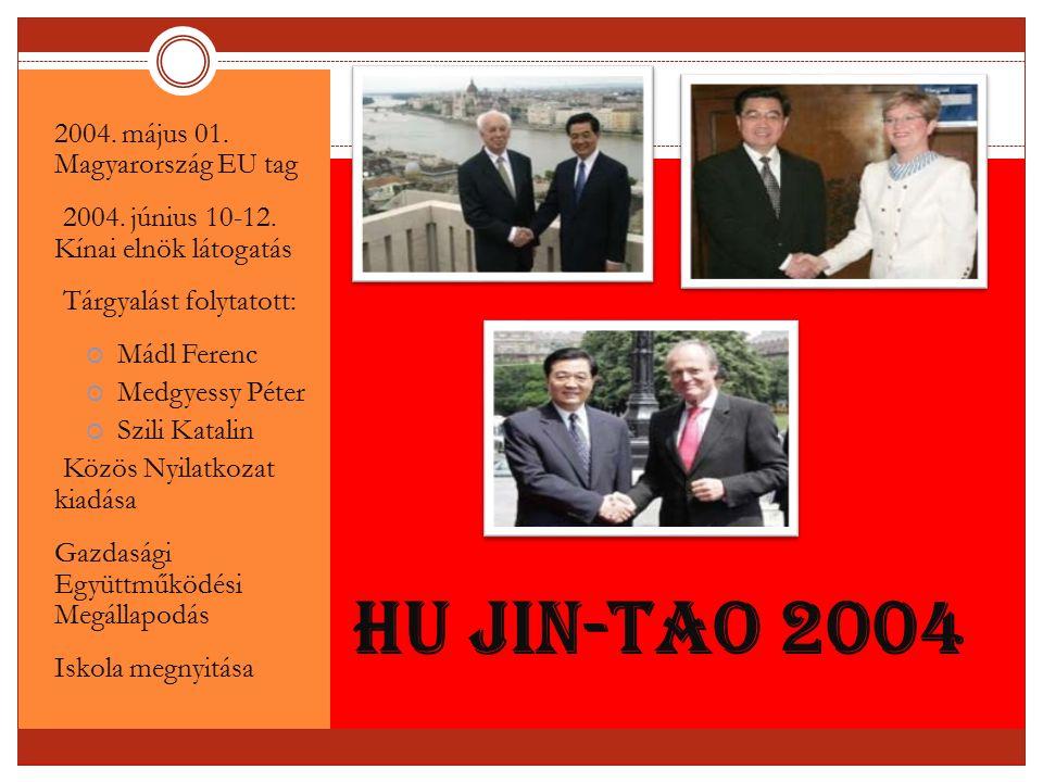 Hu Jin-tao 2004 2004. május 01. Magyarország EU tag 2004. június 10-12. Kínai elnök látogatás Tárgyalást folytatott:  Mádl Ferenc  Medgyessy Péter 
