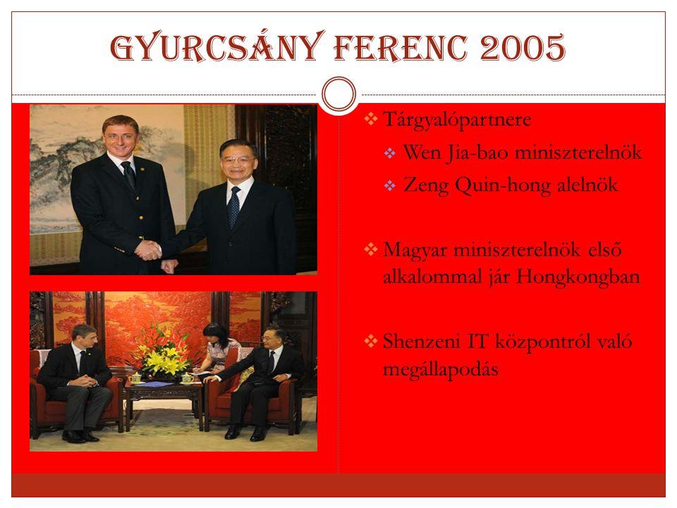 Gyurcsány Ferenc 2005  Tárgyalópartnere  Wen Jia-bao miniszterelnök  Zeng Quin-hong alelnök  Magyar miniszterelnök első alkalommal jár Hongkongban