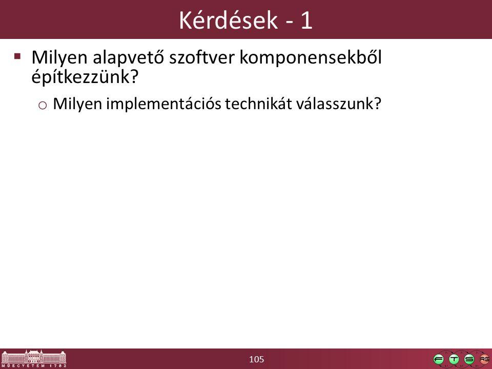 105 Kérdések - 1  Milyen alapvető szoftver komponensekből építkezzünk.
