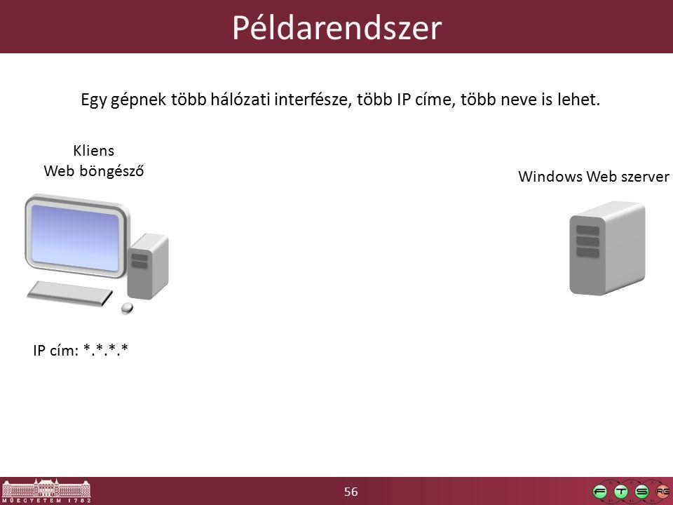 56 Példarendszer Kliens Web böngésző IP cím: *.*.*.* Egy gépnek több hálózati interfésze, több IP címe, több neve is lehet.