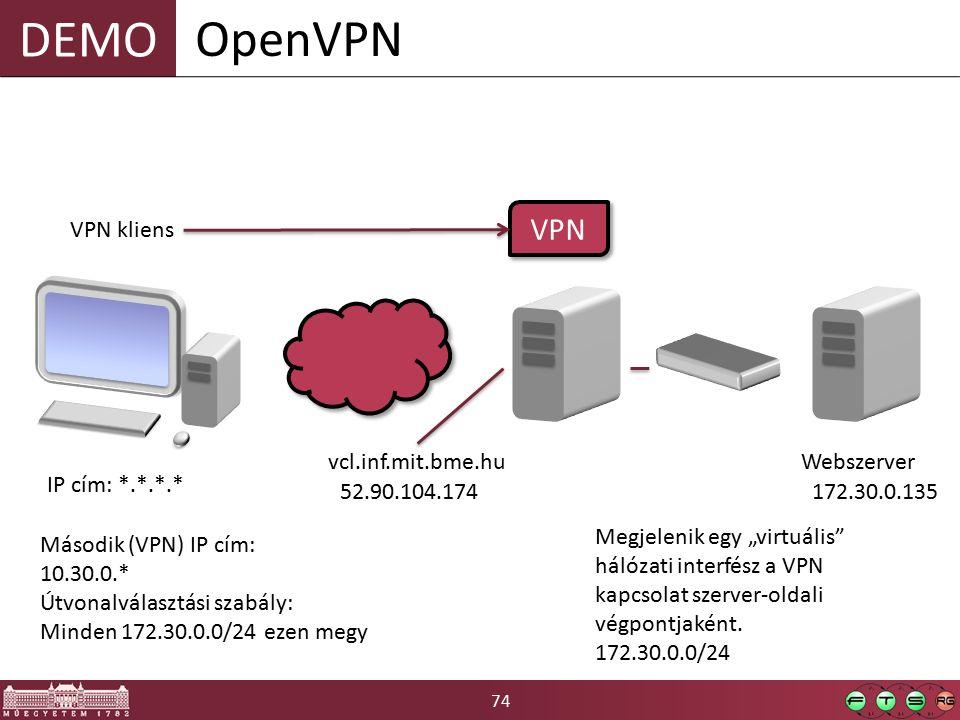 """74 DEMO OpenVPN VPN kliens vcl.inf.mit.bme.hu 52.90.104.174 IP cím: *.*.*.* Webszerver 172.30.0.135 VPN Második (VPN) IP cím: 10.30.0.* Útvonalválasztási szabály: Minden 172.30.0.0/24 ezen megy Megjelenik egy """"virtuális hálózati interfész a VPN kapcsolat szerver-oldali végpontjaként."""