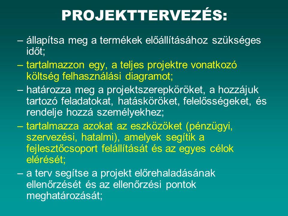PROJEKTTERVEZÉS: –állapítsa meg a termékek előállításához szükséges időt; –tartalmazzon egy, a teljes projektre vonatkozó költség felhasználási diagra