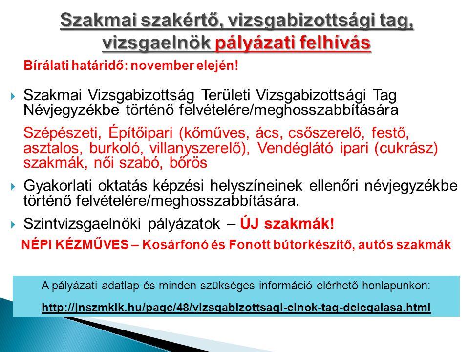 Bírálati határidő: november elején!  Szakmai Vizsgabizottság Területi Vizsgabizottsági Tag Névjegyzékbe történő felvételére/meghosszabbítására Szépés