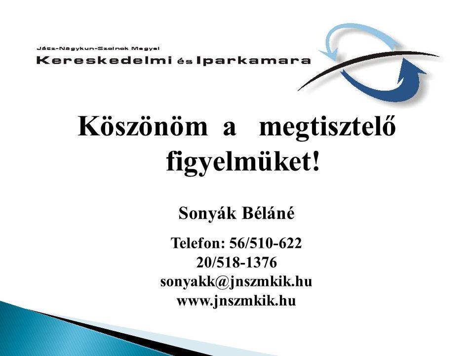 Köszönöm a megtisztelő figyelmüket! Sonyák Béláné Telefon: 56/510-622 20/518-1376 sonyakk@jnszmkik.hu www.jnszmkik.hu