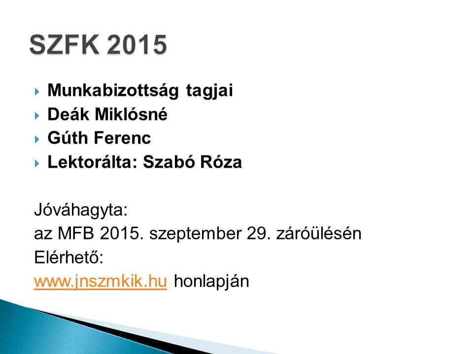  Munkabizottság tagjai  Deák Miklósné  Gúth Ferenc  Lektorálta: Szabó Róza Jóváhagyta: az MFB 2015.