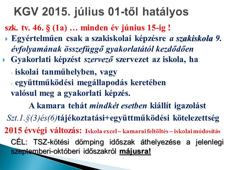 szk. tv. 46. § (1a) … minden év június 15-ig ! szakiskola  Egyértelműen csak a szakiskolai képzésre a szakiskola 9. évfolyamának összefüggő gyakorlat