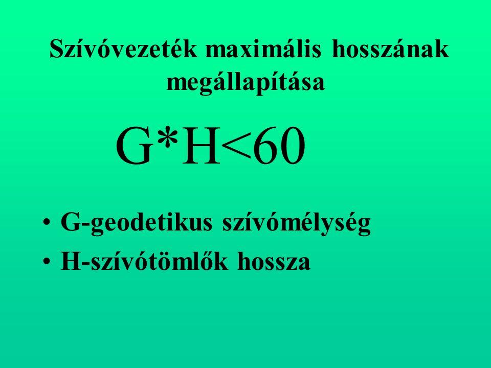 Szívóvezeték maximális hosszának megállapítása G-geodetikus szívómélység H-szívótömlők hossza G*H<60