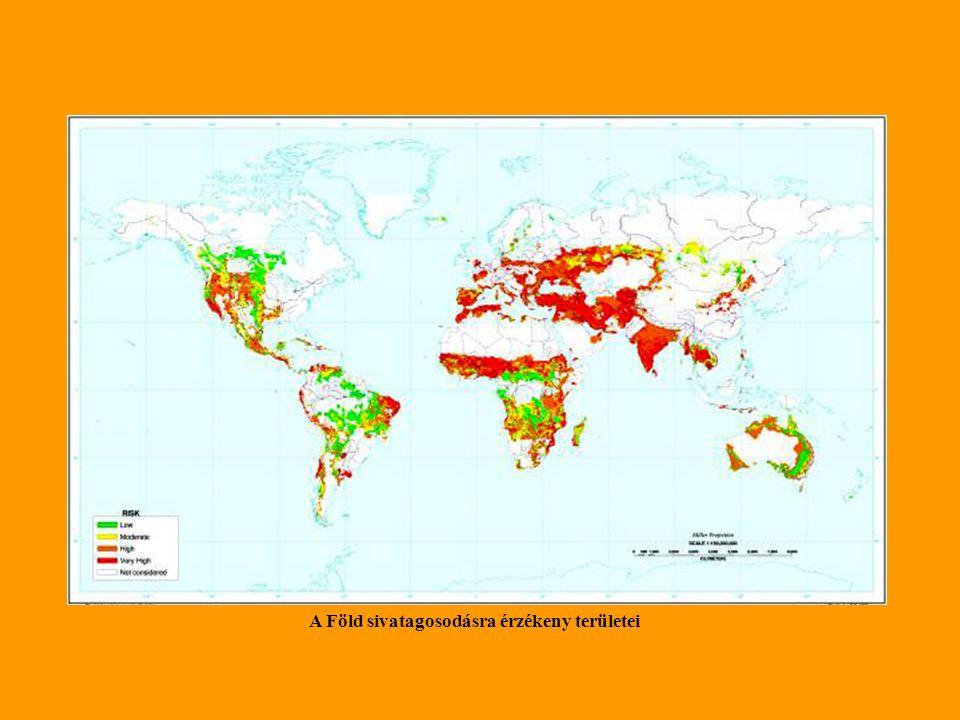 A Föld sivatagosodásra érzékeny területei