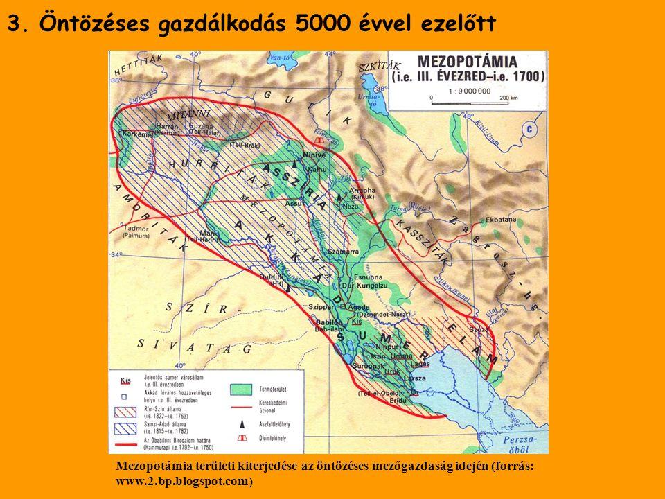 3. Öntözéses gazdálkodás 5000 évvel ezelőtt Mezopotámia területi kiterjedése az öntözéses mezőgazdaság idején (forrás: www.2.bp.blogspot.com)