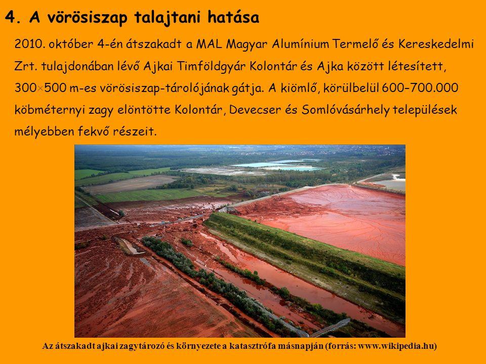 4. A vörösiszap talajtani hatása 2010.